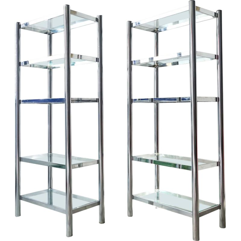 Pair of vintage shelves in polished chrome and glass 1970
