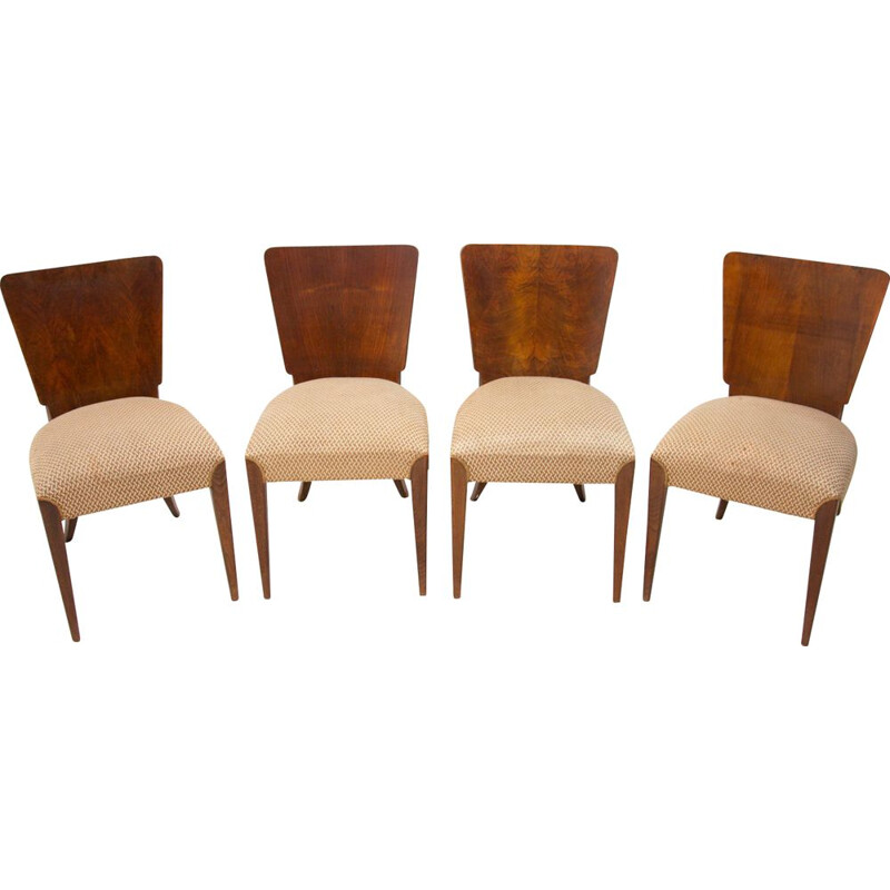 Set of 4 vintage H-214 chairs by Jindrich Halabala for ÚP Závody, Art Deco 1950