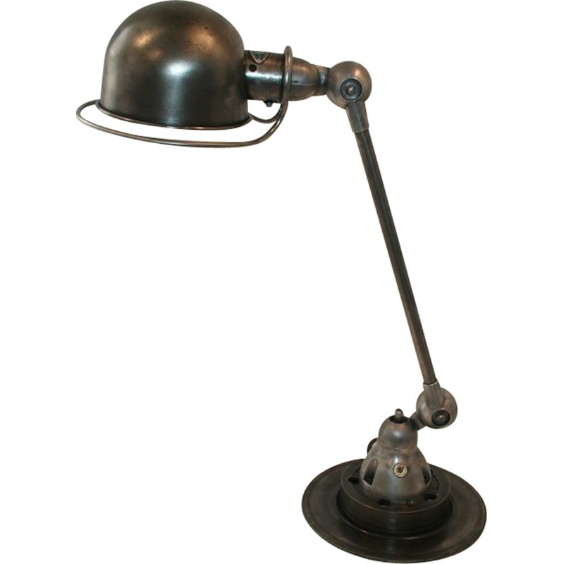 Vintage jielded lamp 1 arm graphite industrial by Jean Louis Domecq
