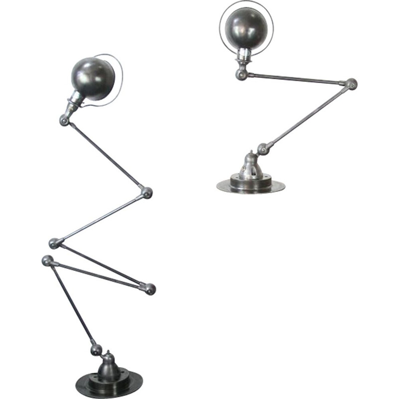Vintage Jieldé desk lamp with 2 industrial graphite arms by Jean Louis Domecq