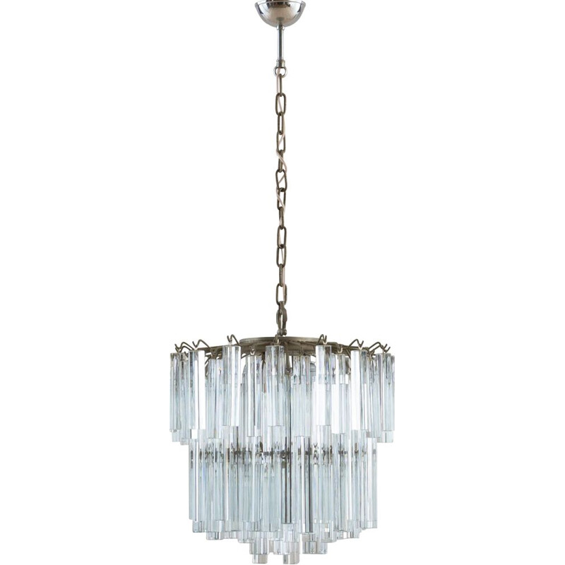 Vintage Two tier Murano chandelier by Paolo Venini 1970s