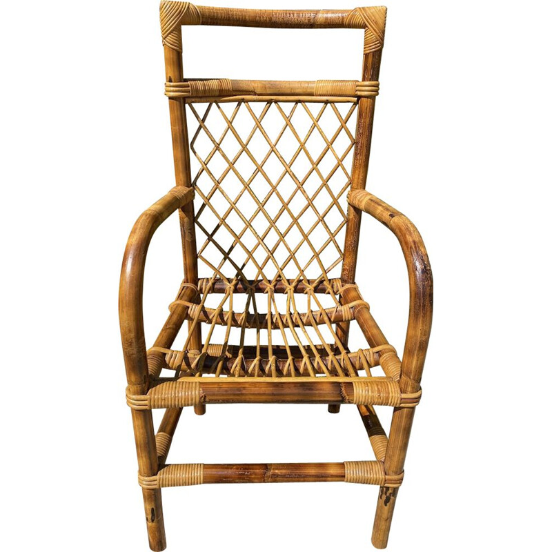 Vintage bamboo and rattan armchair by Audoux Minet 1950s
