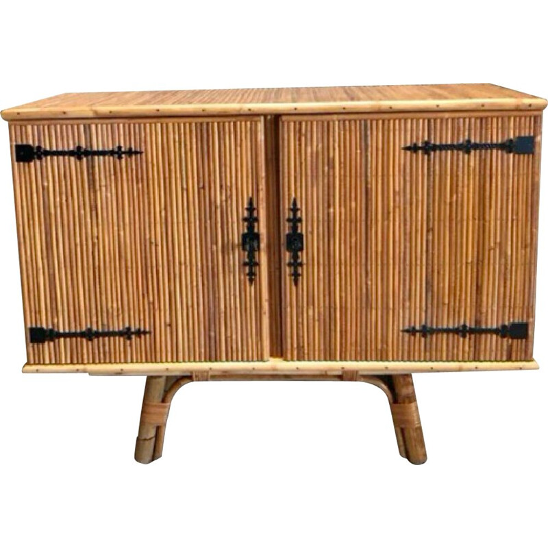 Vintage Split bamboo and wrought iron sideboard by Audoux Minet 1950s