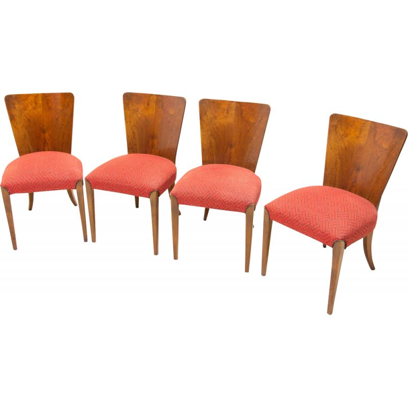 Set of 4 vintage Art Deco dining chairs H-214 by Jindrich Halabala for ÚP Závody 1950s