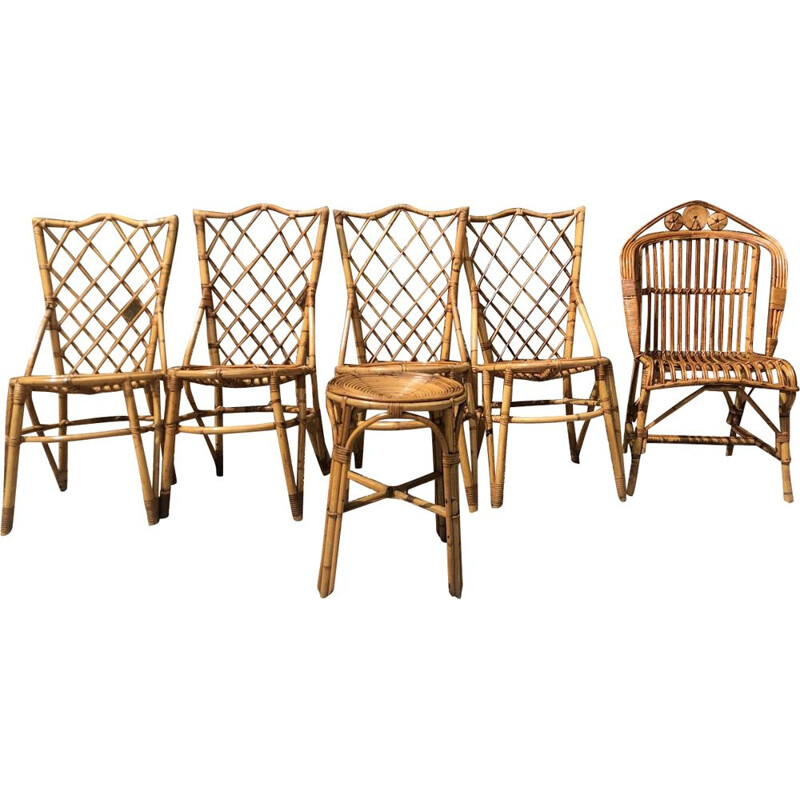 Set of 6 vintage rattan chairs and armchair by Louis Sognot 1960s
