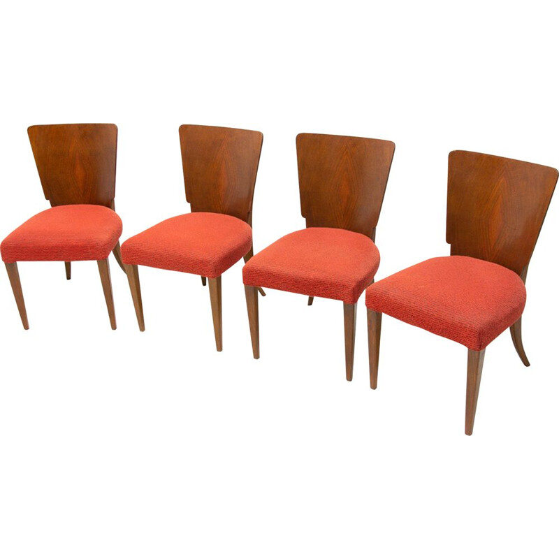 Vintage Art Deco dining chairs H-214 by Jindrich Halabala for ÚP Závody 1950s