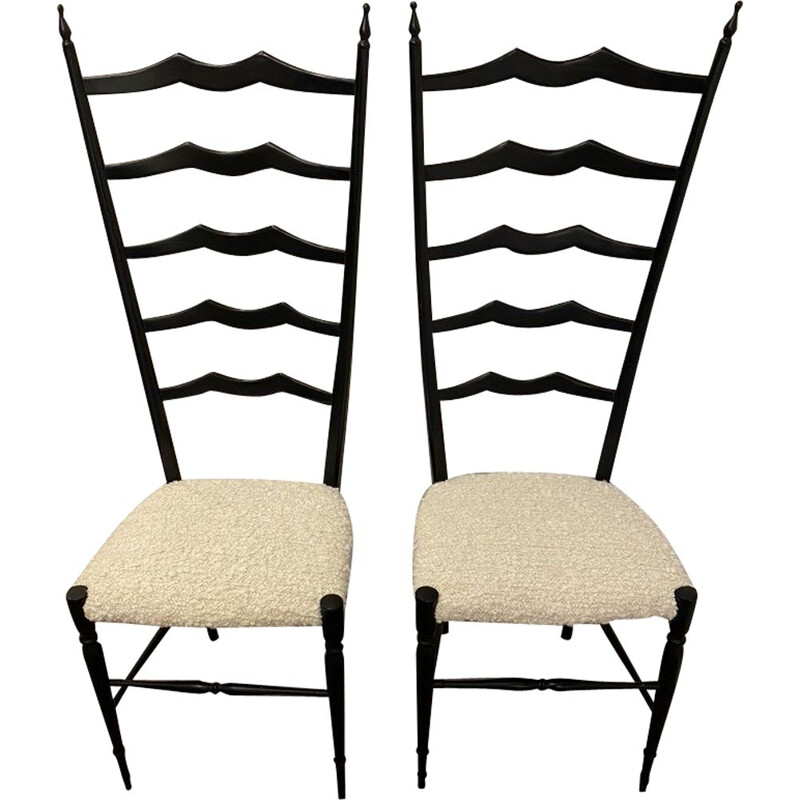 Pair of vintage Chiavari chairs in walnut by Fratelli Levaggi 1950s