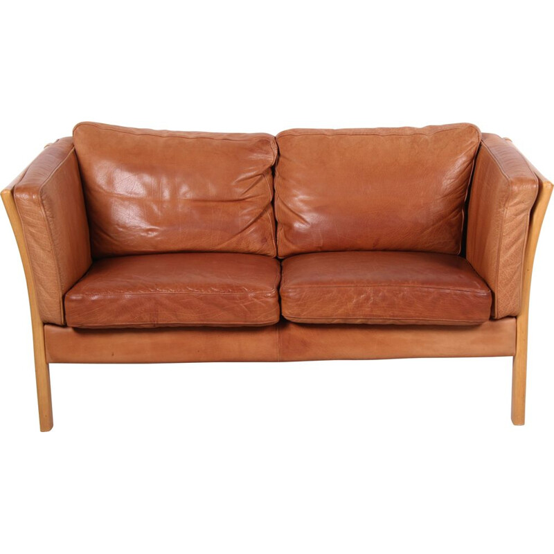 Vintage 2-seater cognac leather sofa by Mogens Hansen, Danish