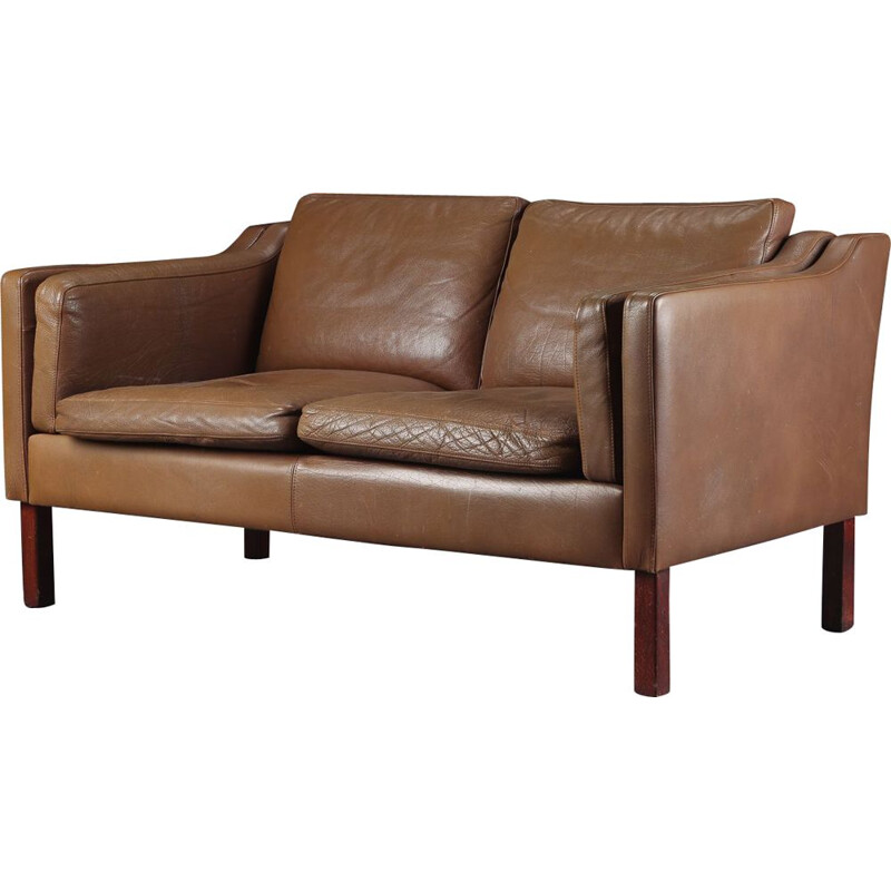 Vintage two seater sofa in brown leather, Danish