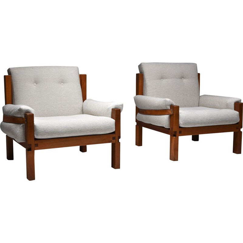 Pair of vintage S15 easy chairs bouclé by Pierre Chapo, France 1964s