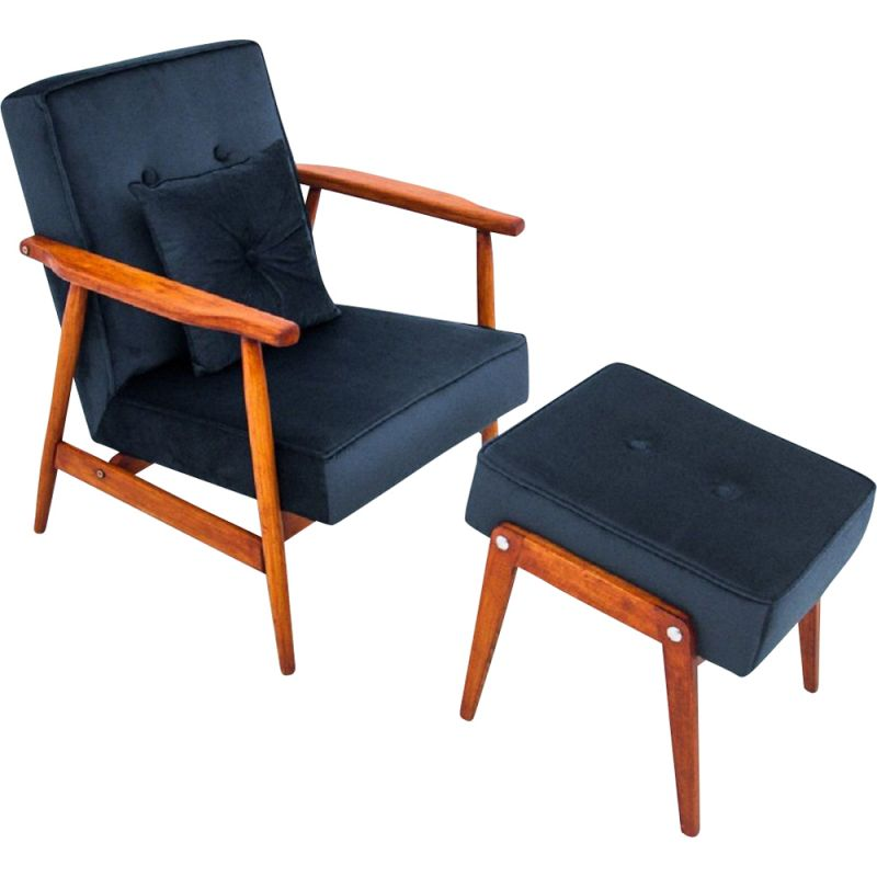 Vintage beech Armchair with footrest, Poland 1960s