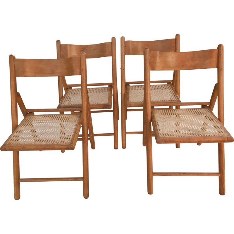 Set of 4 vintage folding chairs with canes