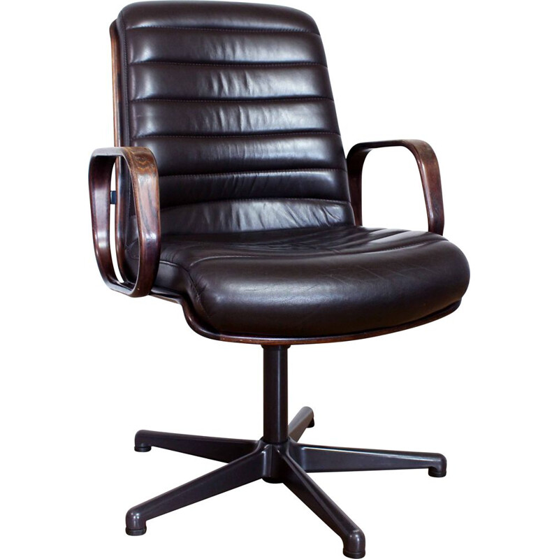 Vintage Stoll Giroflex conference chair in leather and wood 1960