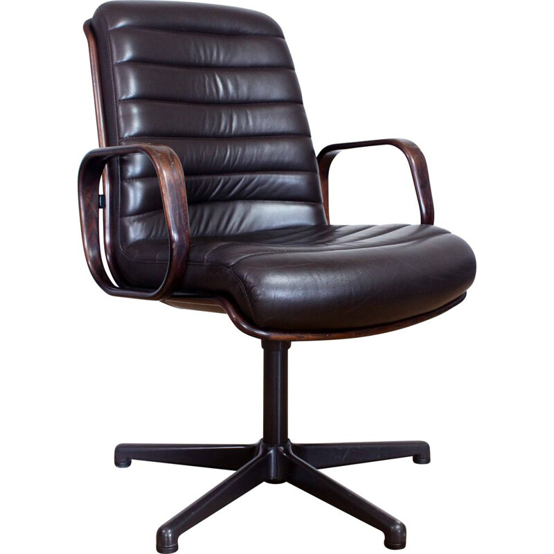 Vintage Stoll Giroflex conference chair in leather and wood, Swiss 1960s