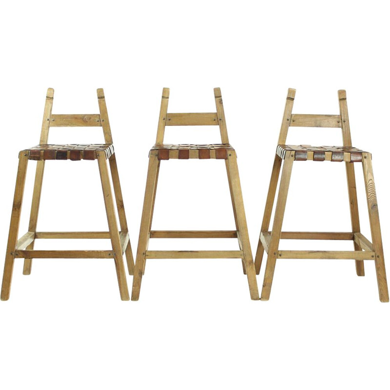 Set of 3 Large vintage Bar Stools In Wood & Leather, Czechoslovakia 1950s