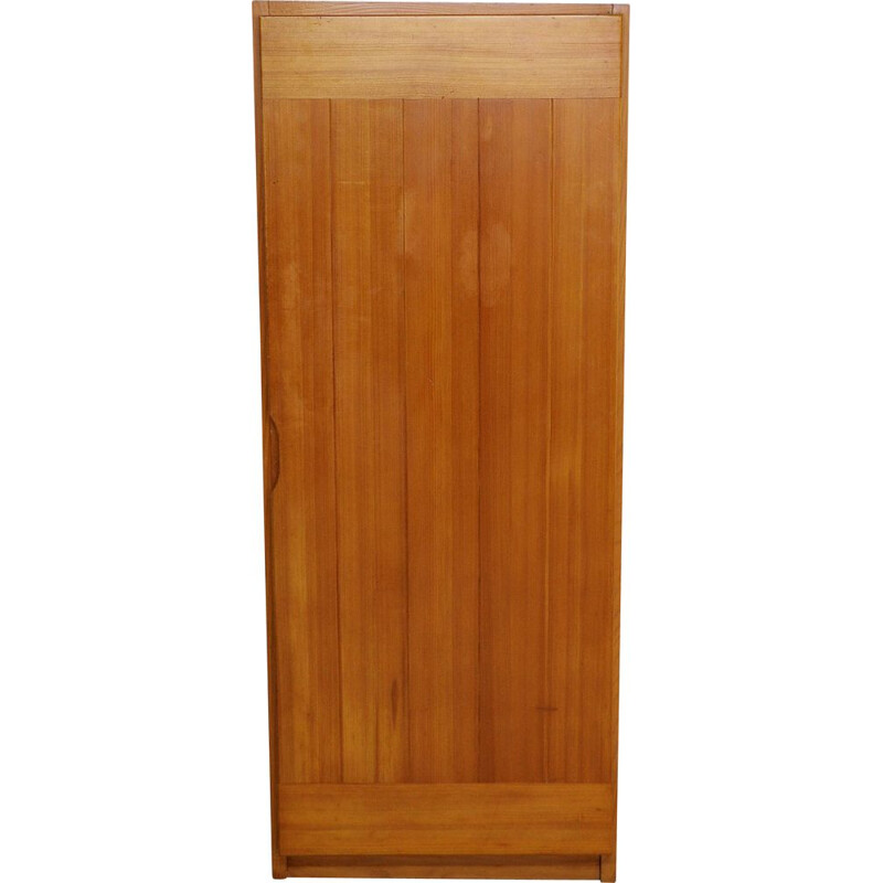 Vintage solid pine wardrobe by Maison Regain, France 1970s