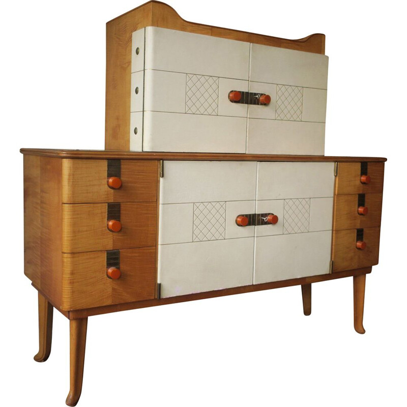 Vintage Maple Leather and Gold Glass Sideboard by Laszlo Hoenig 1940s
