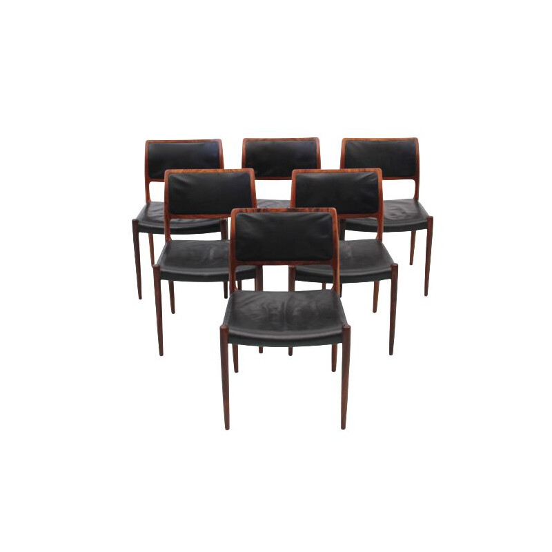 Suite of 6 vintage leather and rosewood chairs model N 80 by Niels Moller