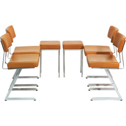 Set of dining chairs and stool in steel and cognac leather - 1970s