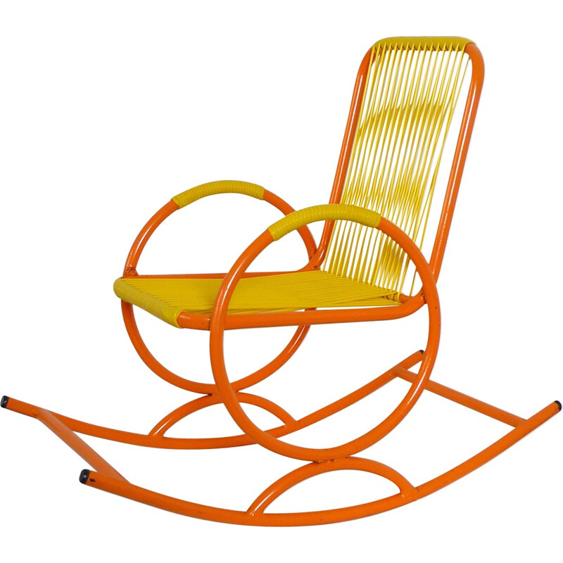 Children rocking chair in plastic and metal - 1950s
