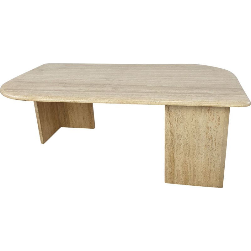 Vintage Travertine Coffee Table, Italian 1980s
