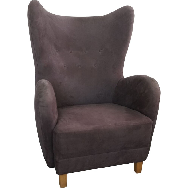 Vintage Wingback Easychair in Grey Fabric Mogens Lassen 1940s