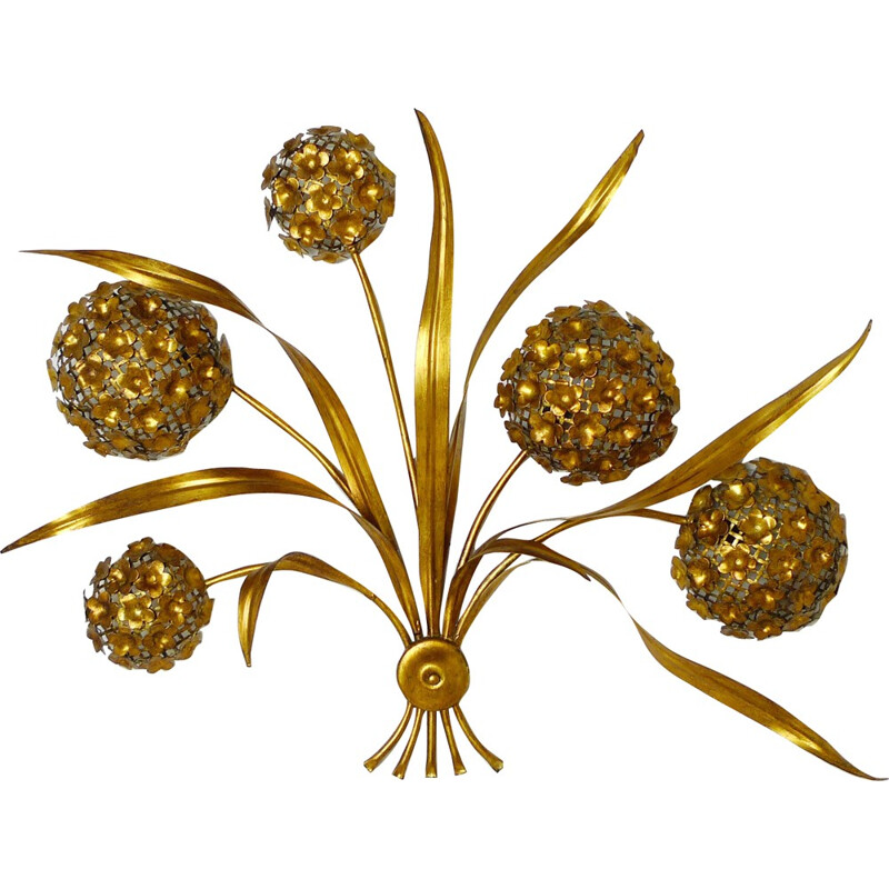 Large gold plated wall sconce bouquet - 1970s