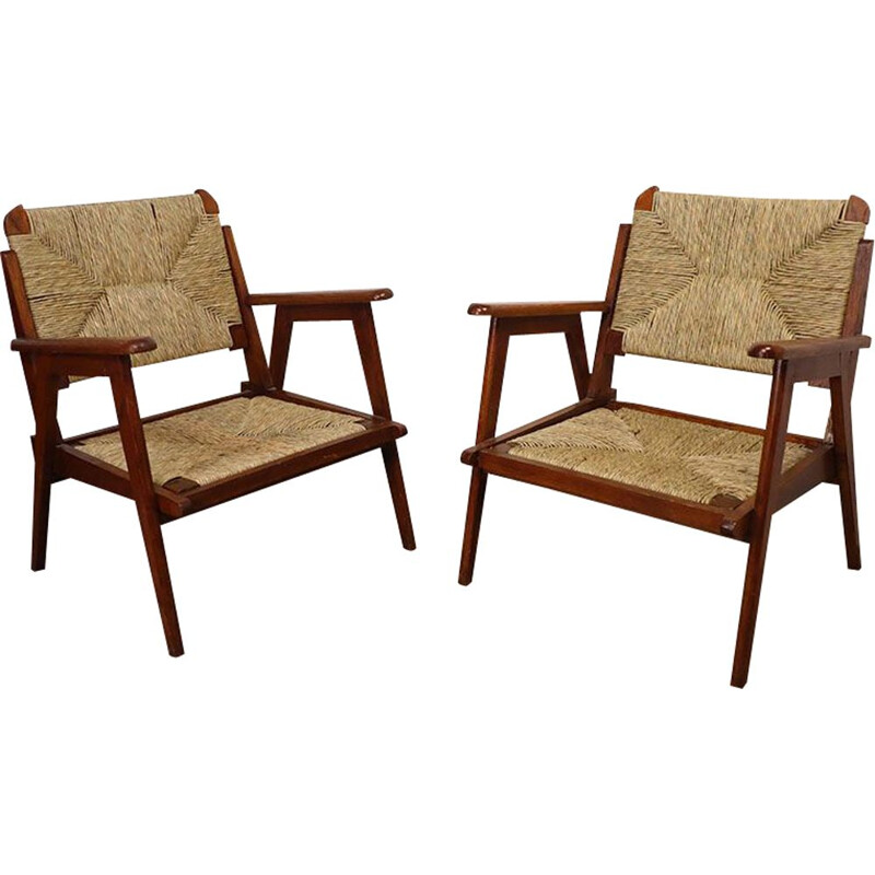 Pair of vintage oak and straw armchairs 1950s
