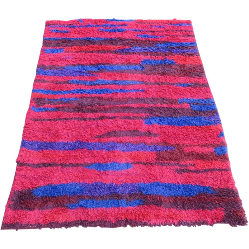 Vintage Long pile hand woven carpet natural colours by Walter Mack 1960s