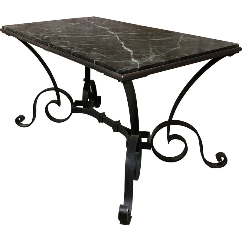 Vintage wrought iron and marble coffee table by Robert Merceris 1940s