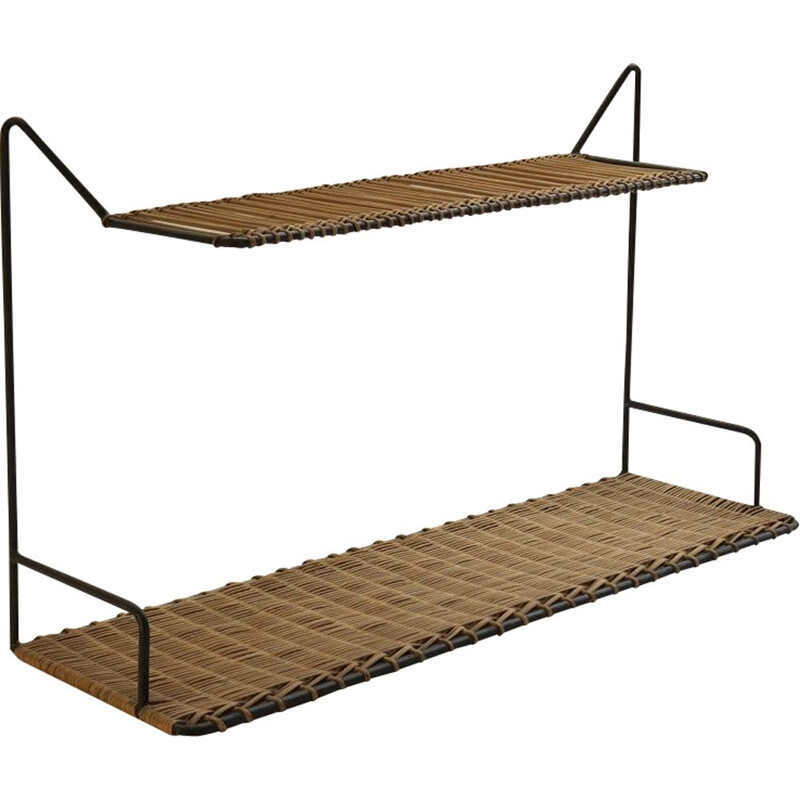 Vintage Cane And Metal Shelving By Guy Raoul, France 1950s