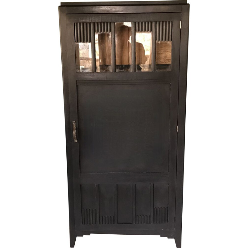 Vintage Art-Deco glass cabinet with black patina