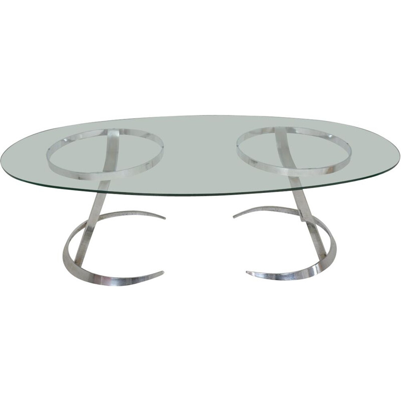 Vintage oval table Modern Furniture by Boris Tabacoff 1970s
