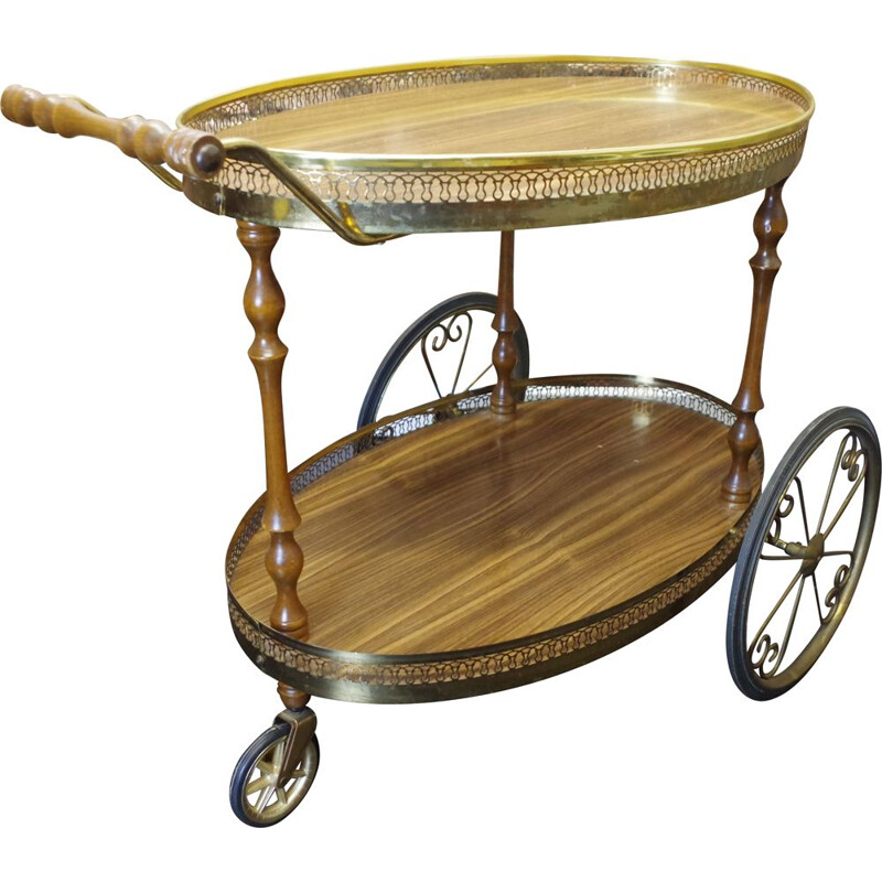 Vintage Neoclassical Brass Drinks Trolley 1960s