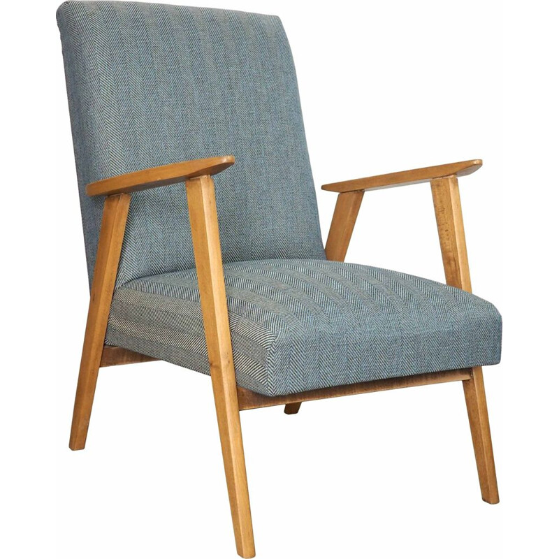 Vintage sanded and varnished wood armchair, English 1960s