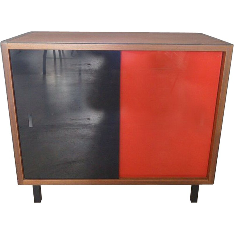 Vintage wood and glass sideboard, French 1960s