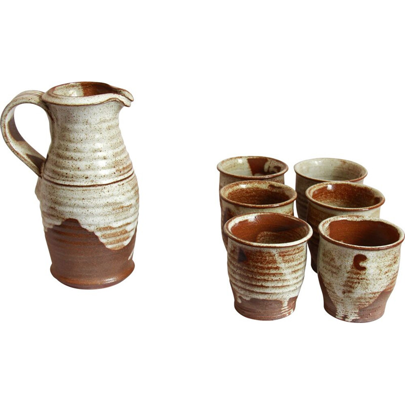 Vintage Rame Drinking Ceramic Set by Giancarlo Scapin, Italy 1978s