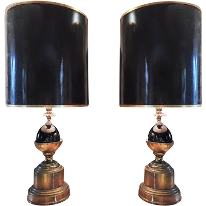 Pair of vintage lamp Maison Charles 1950s