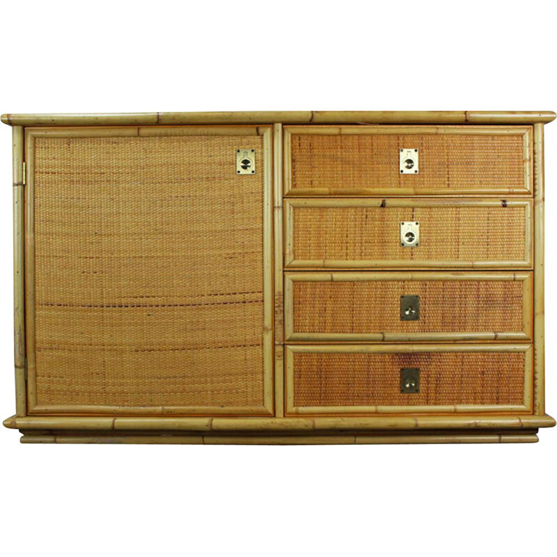 Vintage hand-woven rattan and bamboo sideboard by Dal Vera, Italian 1970s