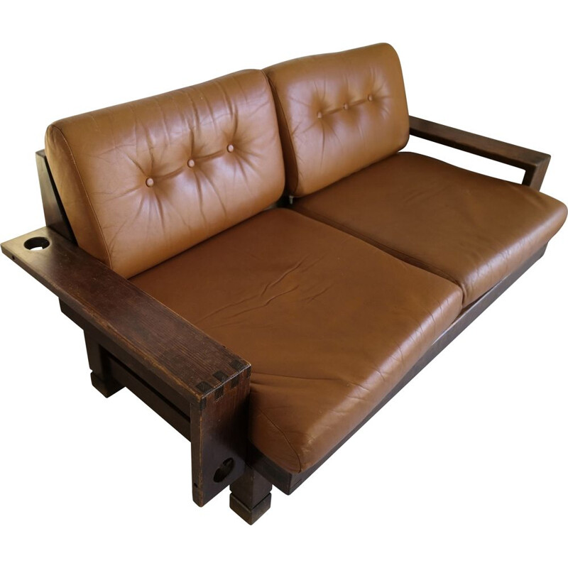 Vintage brutalist sofa in camel leather seats 2