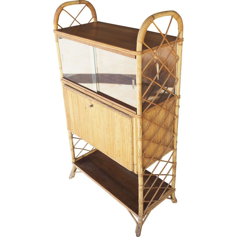 Vintage Rattan bar and display cabinet 1960s
