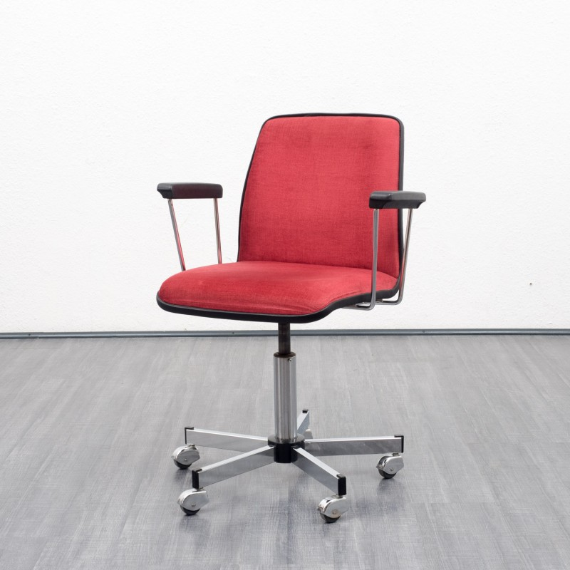 Admirable Mid Century Swivel Office Chair In Red Velvet 1960S Theyellowbook Wood Chair Design Ideas Theyellowbookinfo