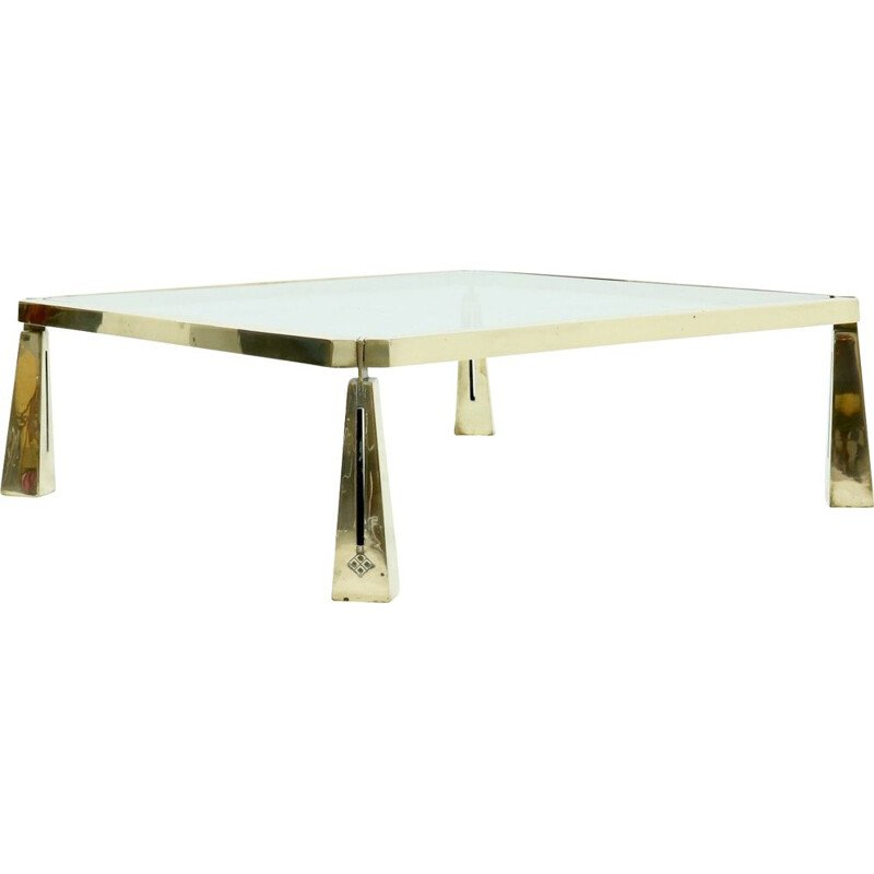 Large vintage Sculptural Solid Brass Coffee Table by Peter Ghyczy 1980s