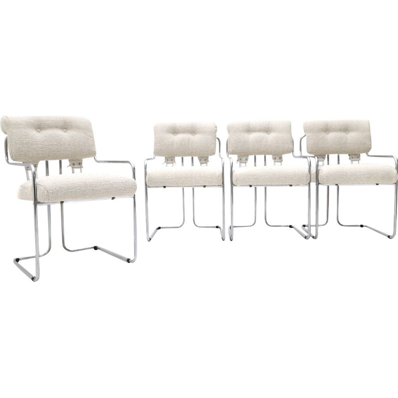 """Set de 4 vintage """"Tucroma"""" chairs by Guido Faleschini for Mariani 1970s"""