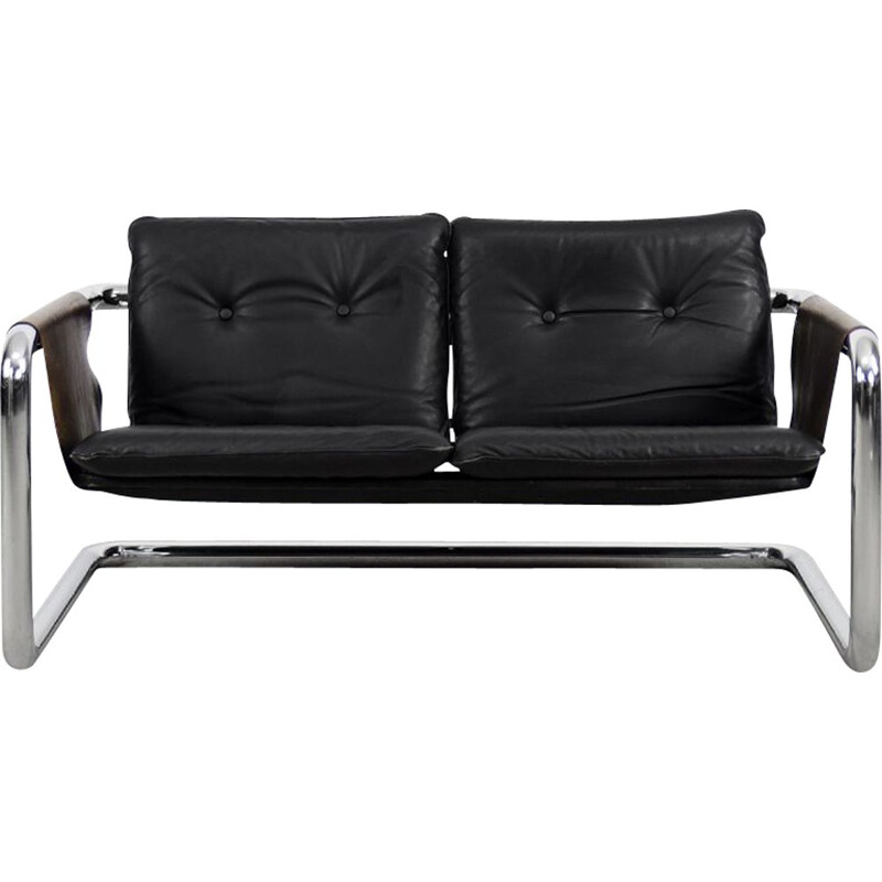 Vintage Brutalist Tubular Metal and Leather Bauhaus Minimalist Sofa 1950s
