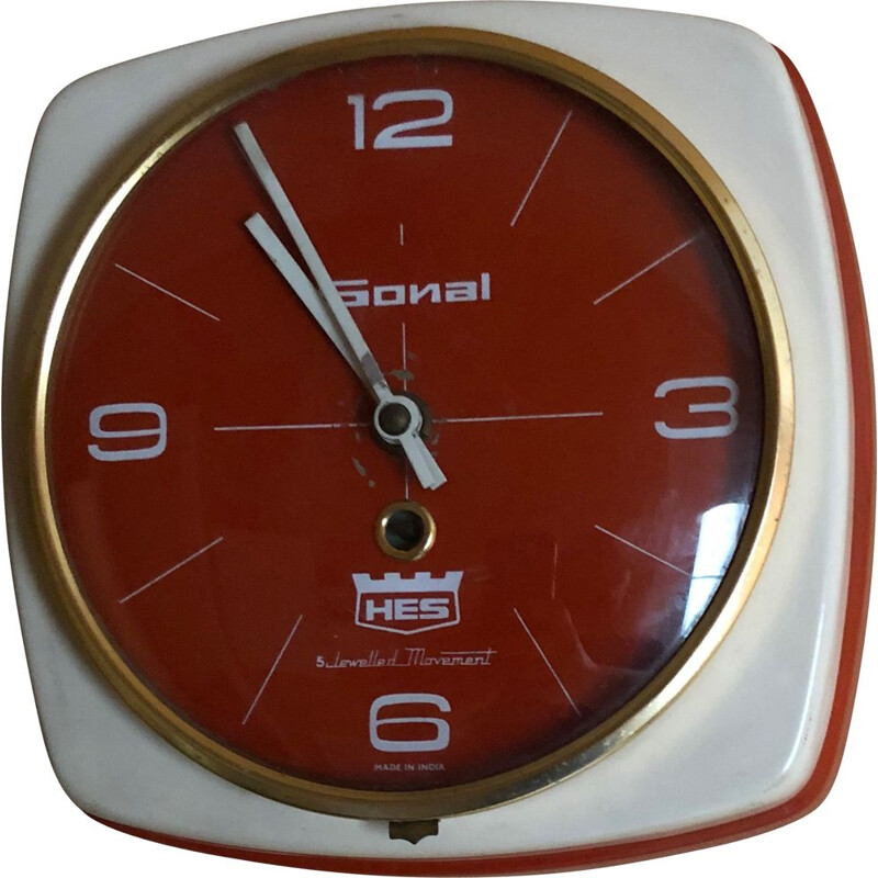 Vintage Indian HES wall clock in heavy metal case
