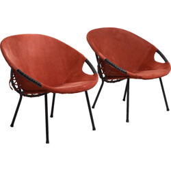Pair of armchairs in red leather - 1950s