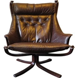 Falcon armchair in brown leather, Sigurd RESSEL - 1970s