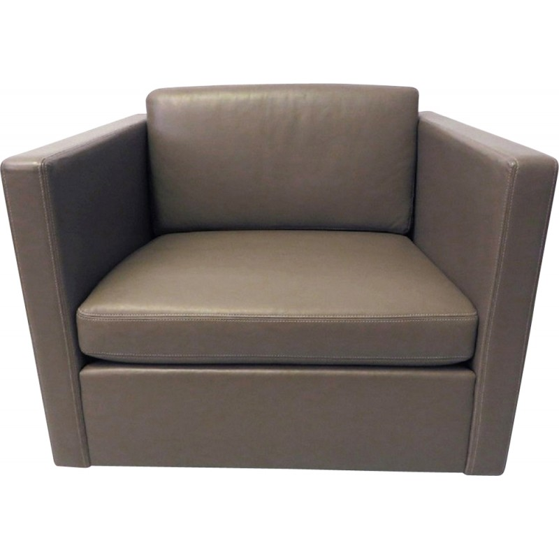 Knoll Armchair In Grey Leather, Charles PFISTER   2000
