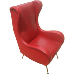 Large Italian armchair in red leatherette - 1960s